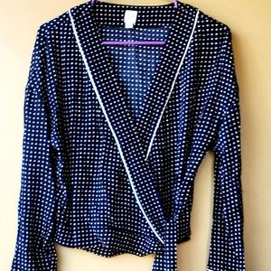 Polka-dot Long WideSleeve Wraph Blouse